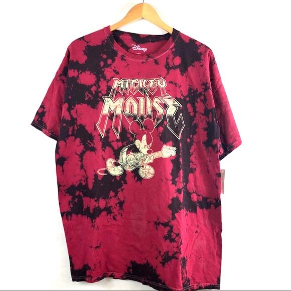 DISNEY MICKEY MOUSE METAL TIE DYE T-SHIRT DISNEYLAND MENS TOP RED